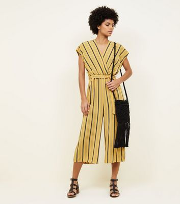 Tall Mustard Stripe Wrap Culotte Jumpsuit