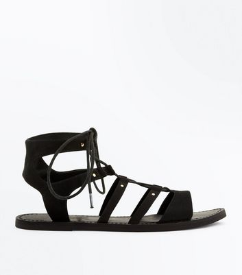 Wide Fit Black Studded Ghillie Sandals