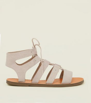 Wide Fit Nude Studded Ghillie Sandals