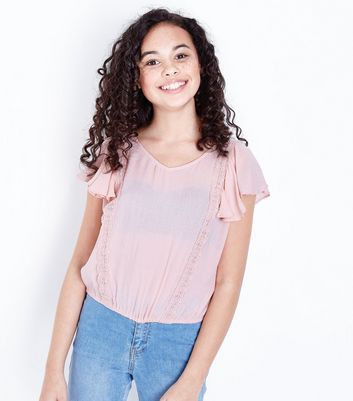 Teens Pale Pink Crochet Top