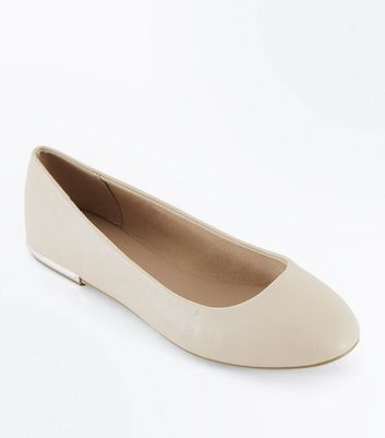 Wide Fit Nude Metal Heel Rounded Pumps
