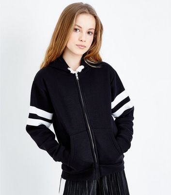 Girls Black Stripe Sleeve Zip Front Hoodie