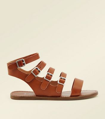 Wide Fit Tan Buckle Strap Gladiator Sandals