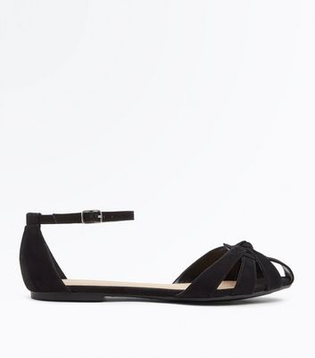 Wide Fit Black Suedette Woven Strappy Pumps by New Look