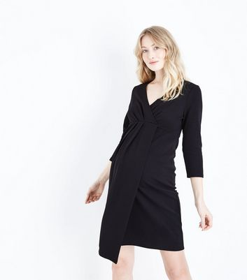 Maternity Black Crepe Wrap Front Dress