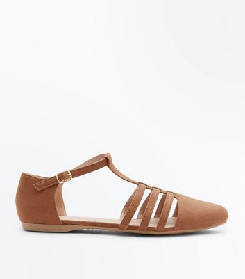 Wide Fit Tan Caged Pumps