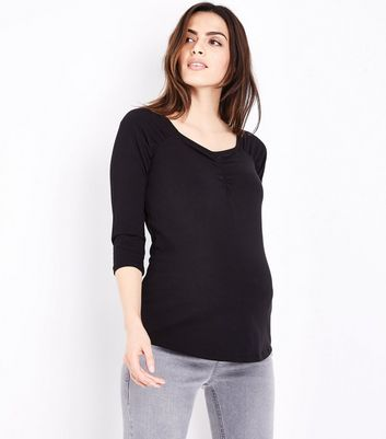 Maternity Black Ruched 3/4 Sleeve T-Shirt