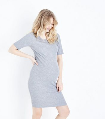 Maternity Grey Ribbed Bodycon Dress
