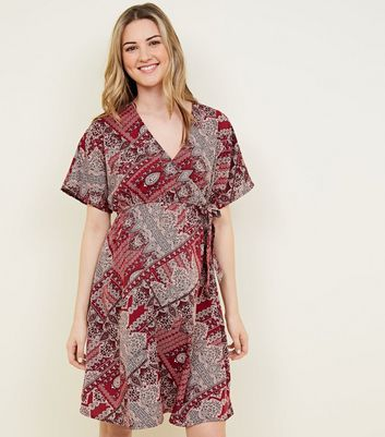 Maternity Red Paisley Patchwork Print Wrap Dress