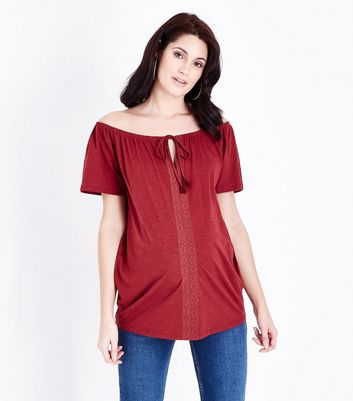 Maternity Dark Red Bardot Tie Neck Top