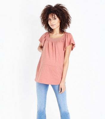Maternity Pink Shirred Square Neck T-Shirt