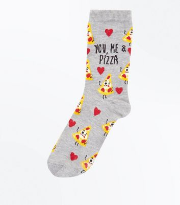 Pale Grey Pizza Socks