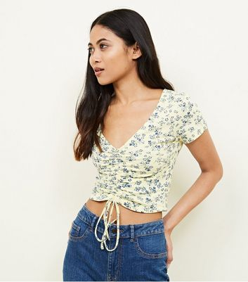 Petite Yellow Ditsy Floral Ruched Crop Top