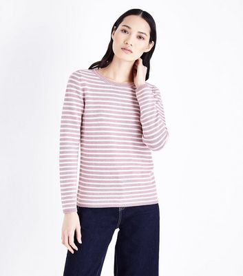 Pink Stripe Crew Neck Jumper