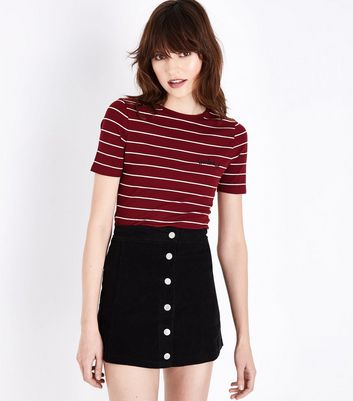 Lulua London Black Corduroy Button Front Mini Skirt