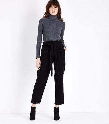 Lulua London Black Corduroy Paperbag Waist Trousers