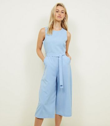 Mela Pale Blue Stripe Culotte Jumpsuit