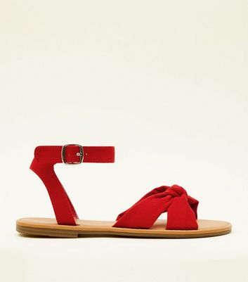 Red Bow Strap Flat Sandals