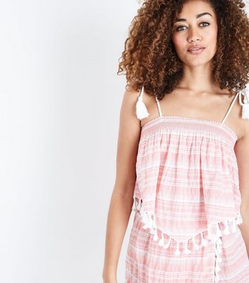 Pink Stripe Tassel Trim Beach Crop Top