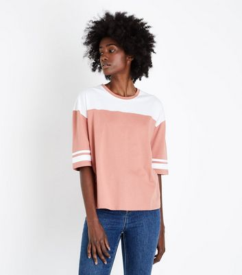 Rust Colour Block Stripe Sleeve T Shirt by New Look