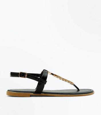 Teens Black Metal Trim Strap Flat Sandals