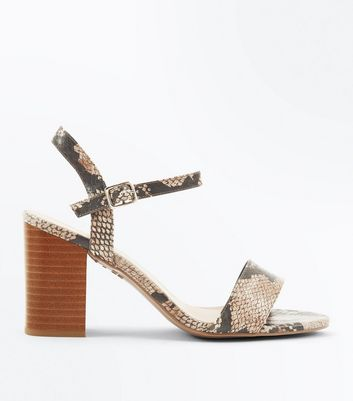 Wide Fit Light Brown Faux Snakeskin Heeled Sandals