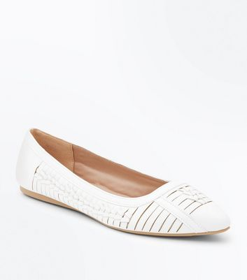 Wide Fit White Woven Pointed Pumps