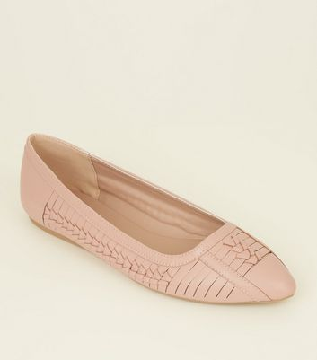 Wide Fit Nude Woven Pointed Pumps by New Look