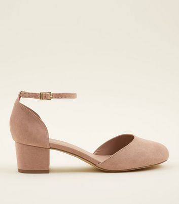 Extra Wide Fit Nude Suedette Two Part Courts