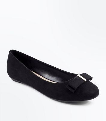 Extra Wide Fit Black Suedette Bow Ballet Pumps