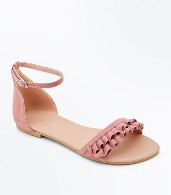 Wide Fit Pink Suedette Frill Strap Flat Sandals
