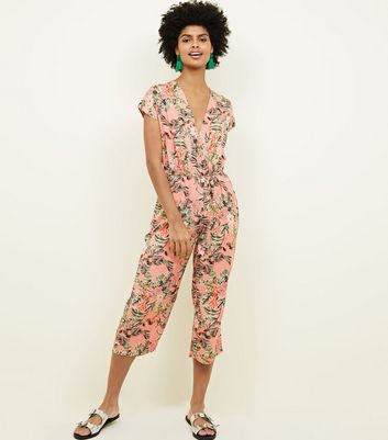 Mela Pink Tropical Wrap Front Jumpsuit