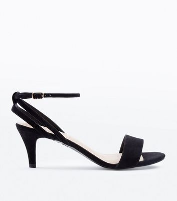 Black Comfort Flex Suedette Strappy Heeled Sandals
