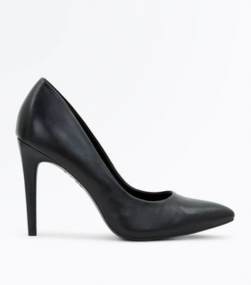 Black Leather Pointed Court Shoes