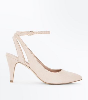 Nude Suedette Cut Out Ankle Strap Courts