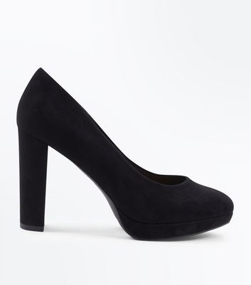 Wide Fit Black Suedette Platform Court Heels