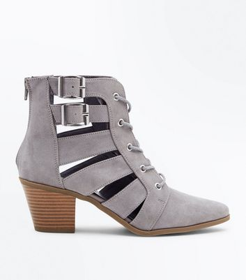 Grey Cut Out Lace-Up Heeled Boots