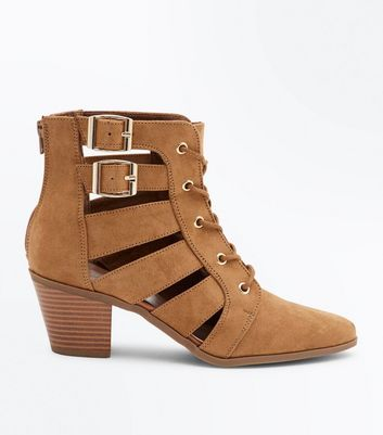 Tan Cut Out Lace-Up Heeled Boots