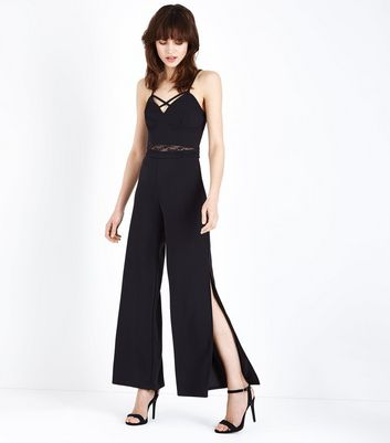 Black Scuba High Waist Wide Leg Trousers