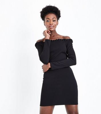 Black Frill Trim Bardot Neck Bodycon Dress