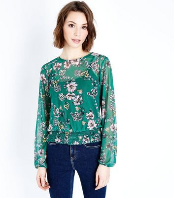 Green Floral Mesh Shirred Hem Top