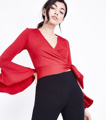 Red Ribbed Bell Sleeve Wrap Top