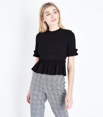 Black Crepe Frill Trim T-Shirt