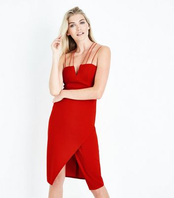 Red Strappy Asymmetric Wrap Midi Dress