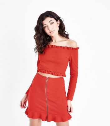 Red Frill Trim Bardot Neck Crop Top