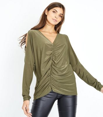 Khaki Ruched Front Cold Shoulder Top