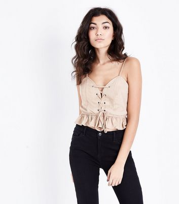 Stone Suedette Lace Up Crop Top