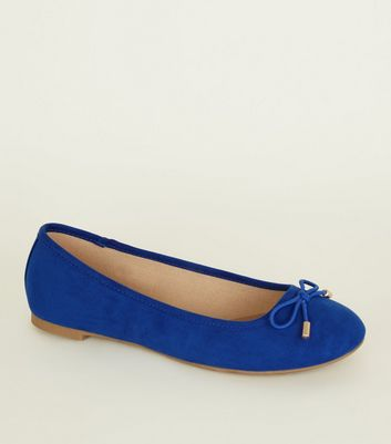 Blue Suedette Bow Ballet Pumps