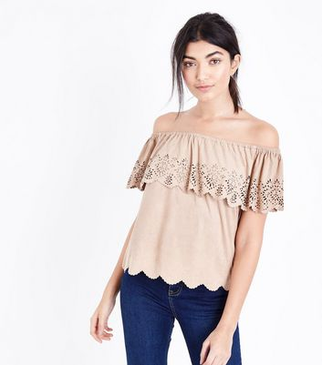 Stone Suedette Embroidered Cut Out Bardot Neck Top