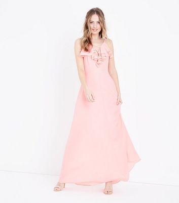 Coral Ruffle Lattice Front Maxi Dress by New Look